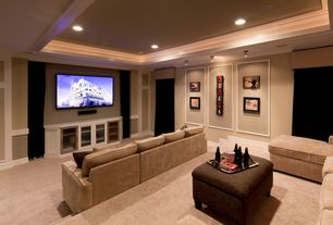 Traditional Home Theater with Crown molding, Standard height, can lights, flush light, Carpet, Built-in bookshelf