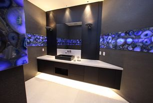 Contemporary Master Bathroom with Vessel sink, Carpet, can lights, Corian counters, three quarter bath, partial backsplash