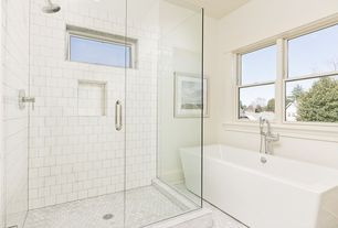 Contemporary Full Bathroom with penny tile floors, frameless showerdoor, Signature hardware eaton acrylic freestanding tub
