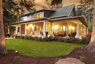 Craftsman Porch with Fence, Wrap around porch, specialty window, Casement, French doors, Pathway, exterior stone floors