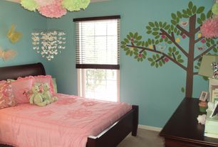 Contemporary Kids Bedroom with Carpet, Multi-Layered Butterflies Decor, Mural, Whimsical White Butterfly Mobile