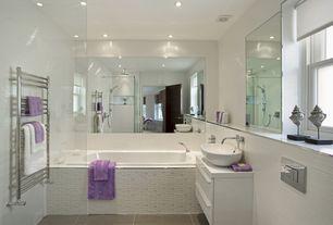 Contemporary Full Bathroom with Pental bitech soft porcelain tile, European Cabinets, Caracalla ceramica oval vessel sink