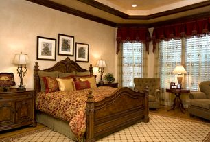 Mediterranean Master Bedroom with double-hung window, High ceiling, can lights, Hardwood floors, Crown molding