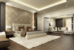 Contemporary Master Bedroom with Williams-Sanoma Robertson Bed, Box ceiling, interior wallpaper, Blu Dot Wonder Wall Cabinet