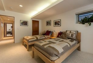 Country Guest Bedroom with Carpet, specialty door