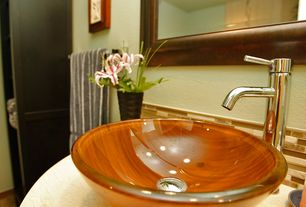 Modern 3/4 Bathroom with MR Direct 605 Yellow/ Orange Double Layer Glass Vessel Sink