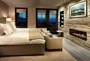 Contemporary Guest Bedroom with Standard height, interior wallpaper, Matouk bel tempo bedding, French doors, can lights