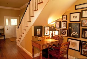 Traditional Home Office with Hardwood floors, Crown molding, Standard height, Glass panel door, Paint 1