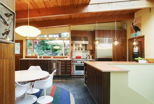 Contemporary Kitchen with full backsplash, Skylight, U-shaped, European Cabinets, flush light, High ceiling, Undermount sink