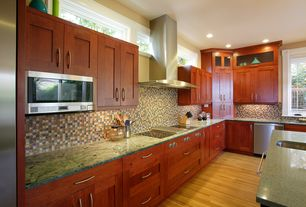 Modern Kitchen with L-shaped, Complex marble counters, Flat panel cabinets, Oak - Seashell 2 1/4 in. Solid Hardwood Strip