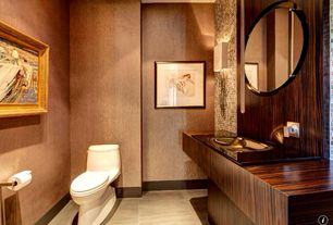 Contemporary Powder Room with Standard height, Wall sconce, Ceramic Tile, Wood counters, stone tile floors, Powder room