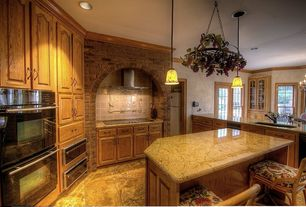 Traditional Kitchen with Wall Hood, Oregon Tile & Marble Astoria Cream Granite, Raised panel, Inset cabinets, Paint 1