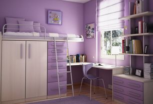 Contemporary Kids Bedroom with Oeuf perch twin loft bed, Built-in bookshelf, Paint, Bunk beds, Hardwood floors, Monochromatic