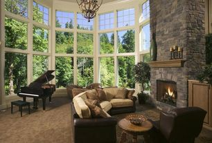 Traditional Living Room with stone fireplace, Baby grand piano, Two-Tone Modern San Marino Sectional Sofa w/Optional Items