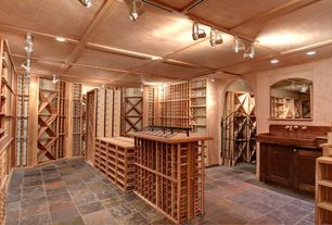 Country Wine Cellar with Box ceiling, Standard height, Saloon door, can lights, flush light, Crown molding, travertine floors