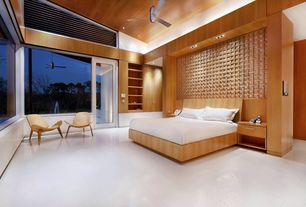 Contemporary Master Bedroom with French doors, Cirrus Ceiling Fan, Built-in bookshelf, American Modern Bed - Maple, King