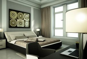 Eclectic Master Bedroom with interior wallpaper, Casement, Concrete floors, Crown molding, Standard height