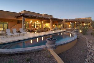 Contemporary Swimming Pool with Outdoor kitchen, exterior stone floors, Transom window