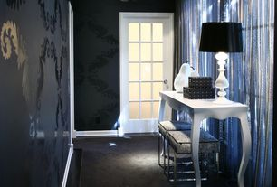Contemporary Hallway with Standard height, Concrete floors, Raised panel, interior wallpaper, French doors
