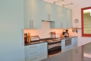 Modern Kitchen with Standard height, full backsplash, Wall sconce, One-wall, Subway Tile, Flush, Simple granite counters