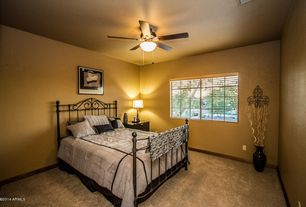 Transitional Guest Bedroom with Carpet, Ceiling fan