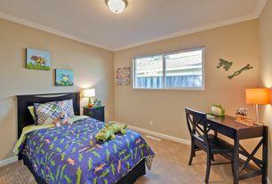 Traditional Kids Bedroom with flush light, no bedroom feature, Crown molding, Casement, Carpet, Art desk, Standard height