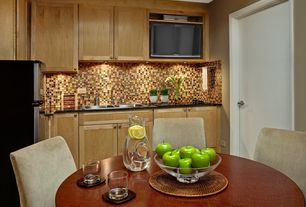 Contemporary Kitchen with Flat panel cabinets, Flush, Dura Supreme Cabinetry Arcadia Panel, Breakfast nook, Ceramic Tile