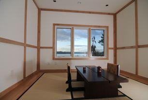 Asian Dining Room with Tatami zaisu chair - black, Hardwood floors, Chair rail, Crown molding