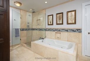 Modern Master Bathroom with flush light, frameless showerdoor, Master bathroom, Inset cabinets, Flat panel cabinets