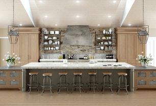 Contemporary Kitchen with Undermount sink, One-wall, Inset cabinets, specialty door, Complex marble counters, Wall Hood