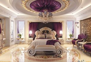 Traditional Master Bedroom with complex marble tile floors, Crown molding, Chandelier, Built-in bookshelf
