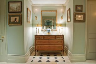 Traditional Hallway with simple marble floors, Wall sconce, Crown molding