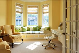 Traditional Home Office with Crown molding, French doors, double-hung window, Window seat, Carpet, Standard height