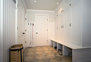 "Traditional Mud Room with Cliffside solid brass 5"" (128mm)c.c. cabinet pull, 32 sq. ft. Beadboard White V-Groove Panel"