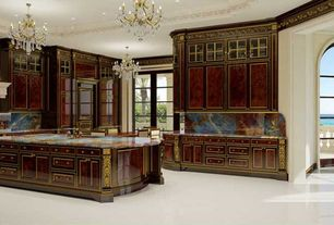 Traditional Kitchen with Kitchen island, Glass panel, Crown molding, Complex granite counters, Complex Granite, Custom hood