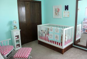 Craftsman Kids Bedroom with Carpet, Built-in bookshelf