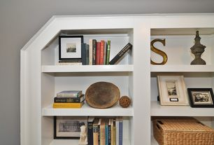 Traditional Home Office with Built-in bookshelf, High ceiling