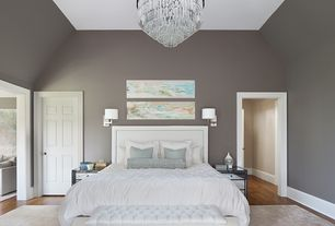 Contemporary Master Bedroom with Sanctuary boutique home- mimi bench, High ceiling, six panel door, Chandelier, Paint
