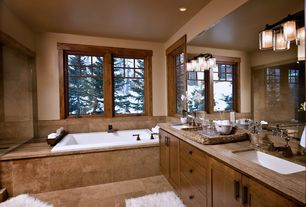 Craftsman Master Bathroom with Wood counters, Undermount sink, Flush, Arizona tile, ATHENS GREY VEIN CUT, Limestone