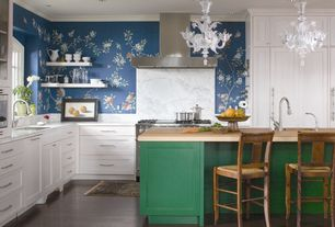 Contemporary Kitchen with Undermount sink, Southport 5-light white floral chandelier, interior wallpaper, Breakfast bar
