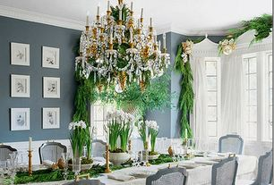 Traditional Dining Room with Crown molding, Wainscotting, Chandelier