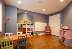 Contemporary Playroom with Ikea - kallax shelving unit, white, Built-in bookshelf, Pottery Barn Kids Carolina Chairs