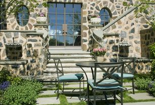 Traditional Patio with exterior stone floors, Pathway, French doors, Bird bath