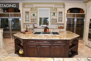 Traditional Kitchen with MS International  Golden Riviera Granite, Flat panel cabinets, Undermount sink, Limestone Tile