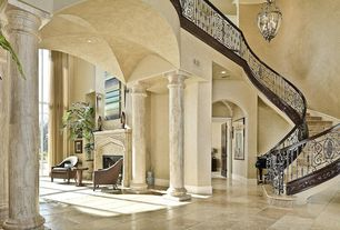 Mediterranean Staircase with High ceiling, curved staircase, Chandelier, Crown molding, simple granite floors