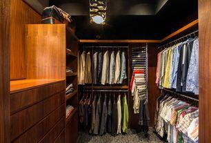 Contemporary Closet with Tension-Mount Pants Rack, Built-in bookshelf, Carpet, flush light