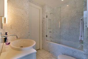 Contemporary Full Bathroom with frameless showerdoor, Rain shower, tiled wall showerbath, Corian counters