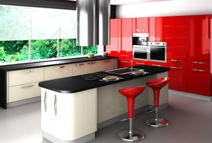 Contemporary Kitchen with European Cabinets, L-shaped, Concrete floors, Polished concrete floor, Destiny: acrilux cabinets