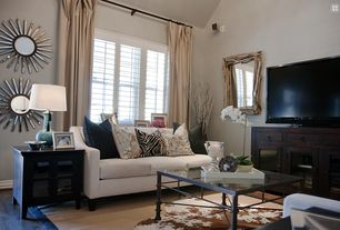 Transitional Living Room with Duponi silk drape, Animal hide rug, Acura Rugs Animal Hide White/Brown Area Rug, High ceiling