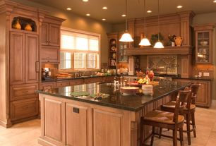 Country Kitchen with Simple granite counters, MS International Nordic Black Granite, Glass panel, Stone Tile, Raised panel